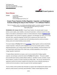 Cooper Power Systems Unifies Regulator ... - Cooper Industries