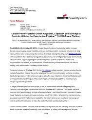 Cooper Power Systems Unifies Regulator ... - Cooper Industries