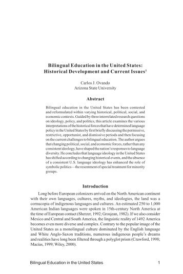Bilingual education in the united states essay