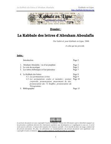 La Kabbale des lettres d'Abraham Aboulafia - Kabbale en Ligne