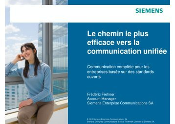 Le chemin le plus efficace vers la communication unifiée - Siemens ...