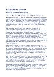 Perversion der Tradition - Andheri-Hilfe Bonn