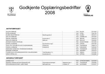 Godkjente Opplæringsbedrifter 2008 - Sør-Trøndelag fylkeskommune