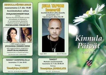 kinnulapäivät 2012 ohjelma