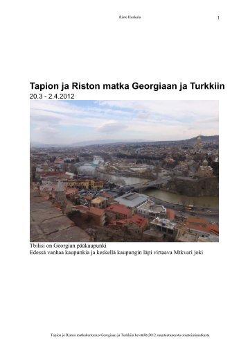 Matkakertomus: Tapion kanssa Georgiassa ja Turkissa - honkala.net