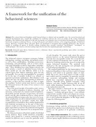 A framework for the unification of the behavioral sciences