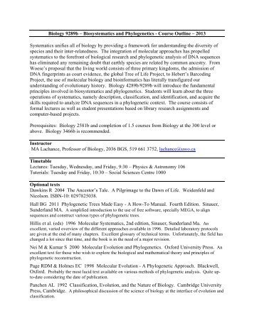 Biology 9289b – Biosystematics and Phylogenetics - Course Outline ...