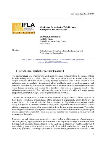 I. Introduction: digital heritage isn't inherited - IFLA Annual Conference