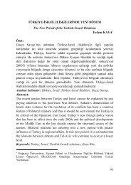 türkiye-israil ilişkilerinde yeni dönem - Bilge Strateji Dergisi