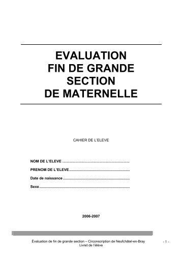 EVALUATION FIN DE GRANDE SECTION DE MATERNELLE
