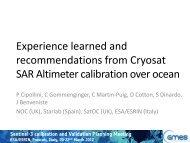 Sentinel-3 calibration and Validation Planning Meeting ESA/ESRIN ...
