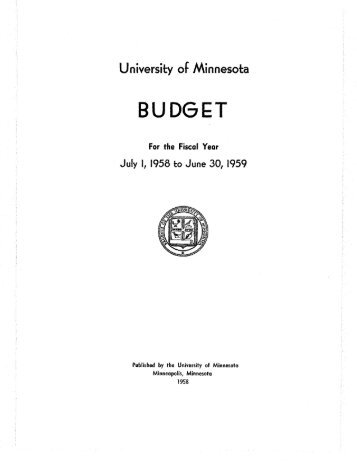BUDGET - Conservancy - University of Minnesota