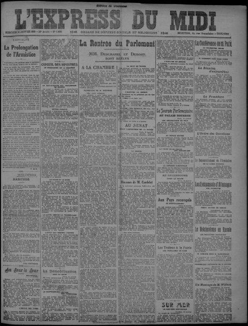 15 janvier 1919 - Bibliothèque de Toulouse