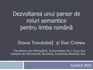 Dezvoltarea unui parser de roluri semantice pentru limba ... - ConsILR