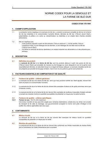 NORME CODEX POUR LA SEMOULE ET - CODEX Alimentarius