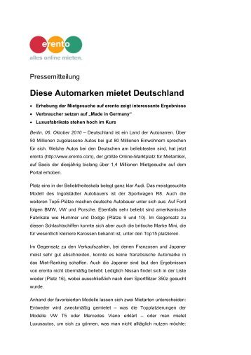 Diese Automarken mietet Deutschland (PDF) - Erento