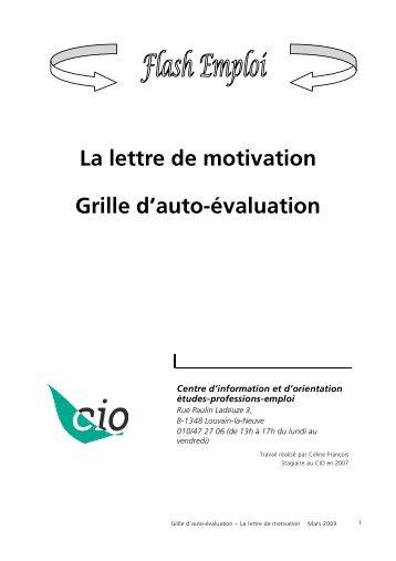 Fiche outil 5 la lettre de motivation - Grille d auto evaluation ...