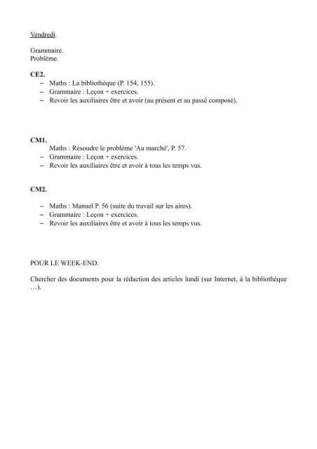 Vendredi Grammaire Probleme Ce2 Maths La Bibliotheque P