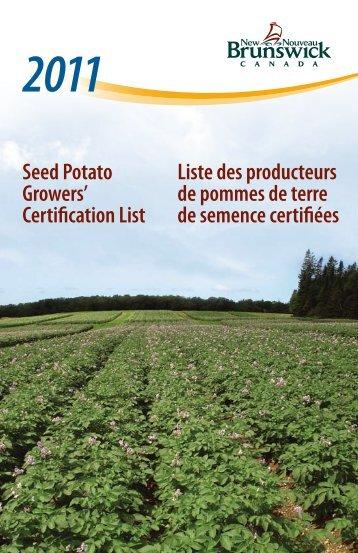 Seed Potato Growers' Certification List Liste des producteurs de ...