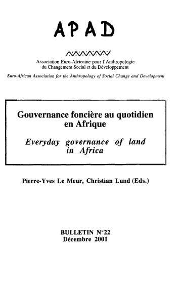 Gouvernance foncière au quotidien en Afrique