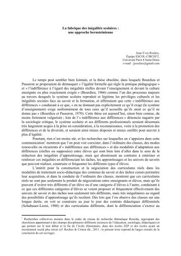 Texte intégral de la contribution de Jean-Yves Rochex (PDF - 164 Ko)