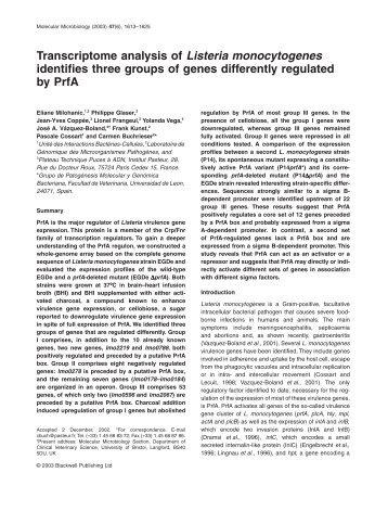 Transcriptome analysis of Listeria monocytogenes identifies three ...