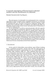 A semantic description of French lexical evidential markers and the ...