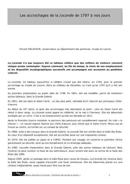 Les accrochages de la Joconde de 1797 à nos ... - Musée du Louvre