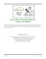 Just in Time Parenting Program's: Guide to Evaluation