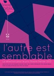 La sélection pour le prix Rosine Perrier 2013 - Savoie-biblio