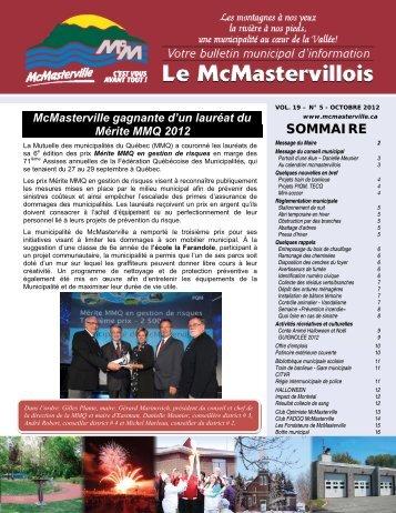Volume 19, No 5 Octobre 2012 - Municipalité de McMasterville