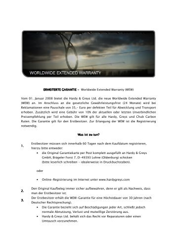 Worldwide Extended Warranty (WEW) - Angelzentrale Herrieden