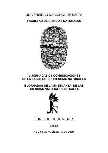 LIBRO DE RESUMENES - Universidad Nacional de Salta