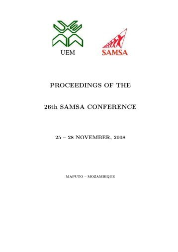 PROCEEDINGS OF THE 26th SAMSA CONFERENCE