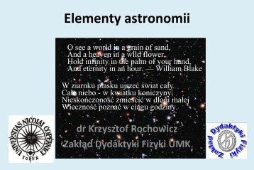 Elementy astronomii - prezentacja dr. K. Rochowicza