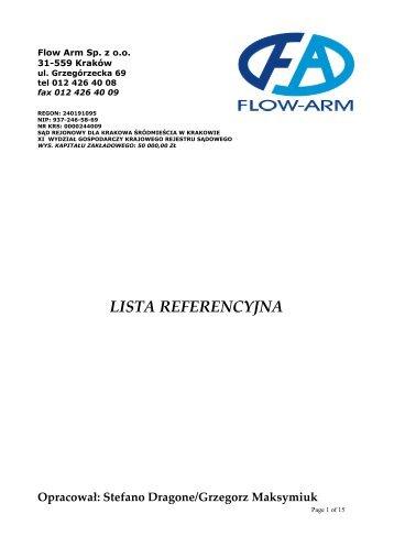 LISTA REFERENCYJNA - FLOW-ARM