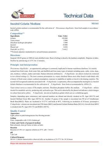 Inositol Gelatin Medium - HiMedia Laboratories