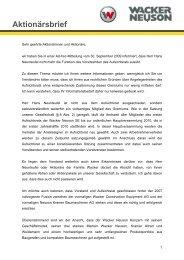 Aktionärsbrief - Wacker Neuson SE