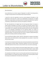 Letter to Shareholders from Dr. - Wacker Neuson SE