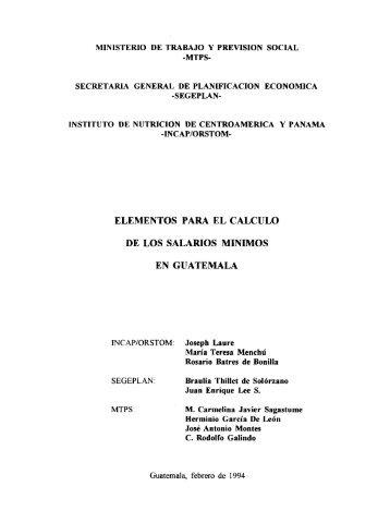 Elementos para el calculo de los salarios minimos en Guatemala - IRD