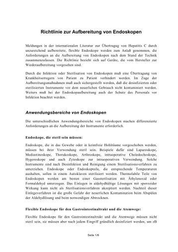 Richtlinie zur Aufbereitung von Endoskopen