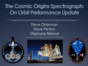 The Cosmic Origins Spectrograph: On Orbit Performance Update