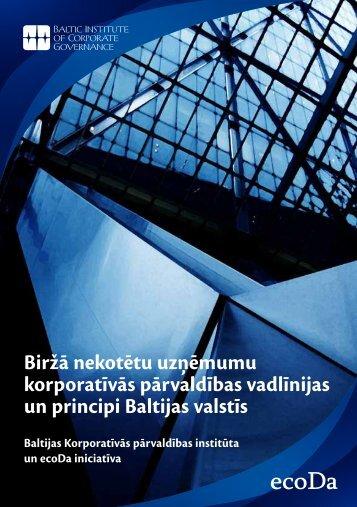 Biržā nekotētu uzņēmumu korporatīvās pārvaldības vadlīnijas un ...