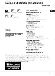 Notice d'utilisation et installation - Hotpoint-Ariston