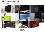 Investor Presentation. January 2013. - Loewe AG > Aktuell