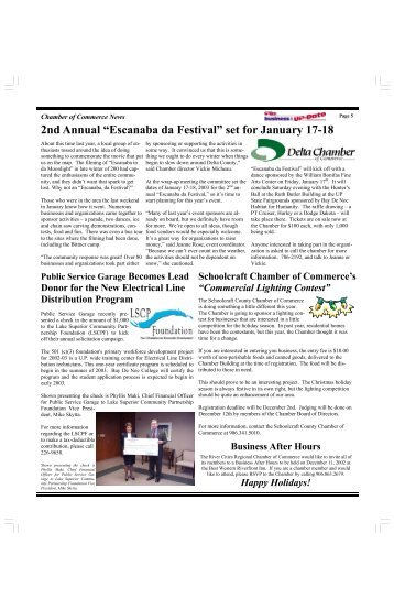 "2nd Annual ""Escanaba da Festival"" set for January ... - Michigan Works"