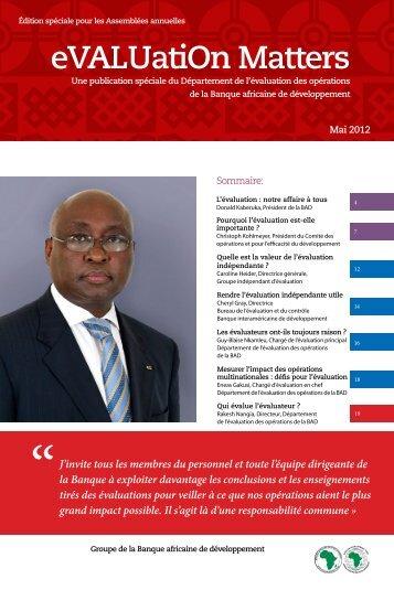 Evaluation Matters - African Development Bank