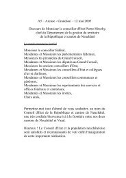 discours Claude Frey, président du Conseil national - Canton de ...