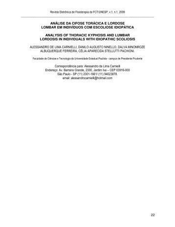 22 análise da cifose torácica e lordose lombar em ... - Unesp