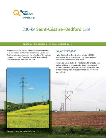General Information bulletin – Spring-summer 2011 - Hydro-Québec